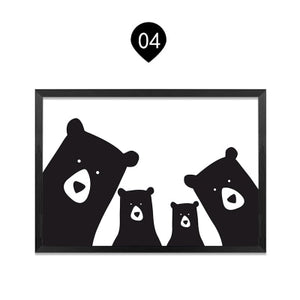 Family of Bears Cute Animal Wall Art Canvas Paintings Black White and Color Modern Cute Nordic Wall Art Posters Family Art