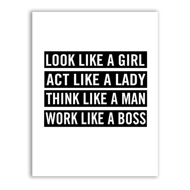 Act Like A Lady Work Like A Boss Quotation Black And White Minimalist Wall Art Motivational Poster For Girls Room Fine Art Canvas Prints