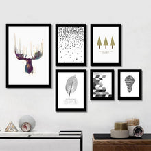 Load image into Gallery viewer, Stylish Abstract Nordic Wall Art Minimalist Canvas Paintings Inspired By Nature Nature Deer Posters For Office Living Room Home Decor
