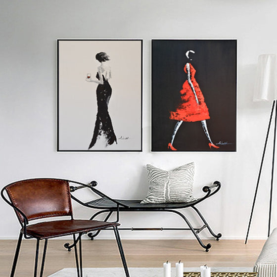Abstract Fashion Canvas Wall Art Modern Elegant Feminine Figure Painting Black Red Poster Prints For Modern Studio Salon Living Room Home Decor
