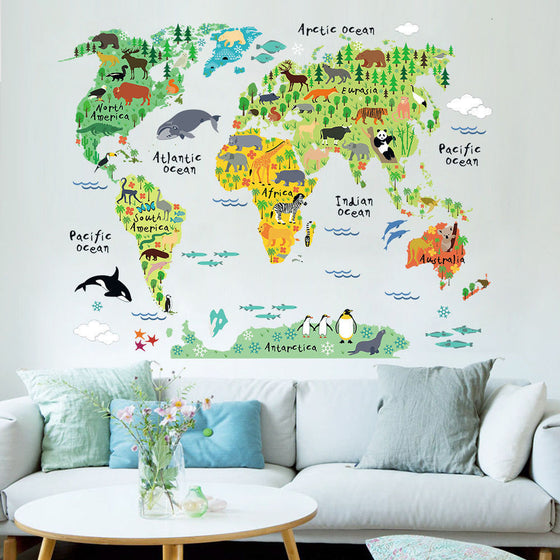 Delightful Global Wildlife Chart Wall Decal For Kids Room Colorful Chart Of The Continents With Cartoon Wildlife Removable PVC 75x90cm Wall Decal