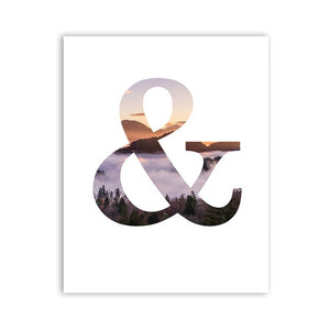 Colorful Ampersand Wall Art Symbol Nordic Minimalist Letter Art Fine Art Canvas Prints Pictures For Modern Home Or Office Interior Decoration