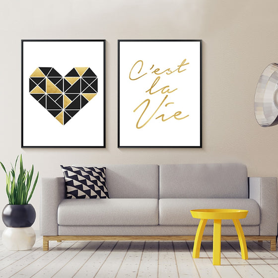 C'est La Vie That's Life Minimalist Quotation Poster Simple Geometric Love Heart Fine Art Canvas Prints For Bedroom Living Room Decor