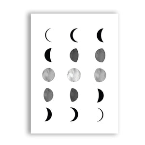 Abstract Moon Phases Chart Minimalist Scandinavian Style Black And White Wall Art Fine Art Canvas Prints Nordic Style Modern Interior Decor