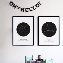 Load image into Gallery viewer, Constellation Posters Abstract Astrology Wall Art Black White Canvas Prints Each Star-Sign With 3 Traits Canvas Prints For Office Bedroom Home Decor