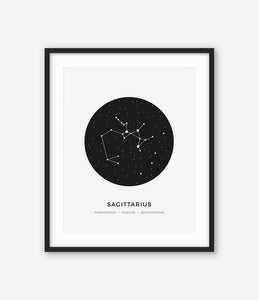 Constellation Posters Abstract Astrology Wall Art Black White Canvas Prints Each Star-Sign With 3 Traits Canvas Prints For Office Bedroom Home Decor