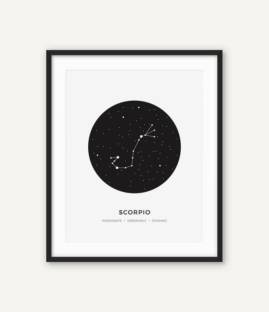 Constellation Posters Abstract Astronomy Wall Art Black White Canvas Prints Each Star-Sign With 3 Traits Canvas Prints For Office Bedroom Home Decor
