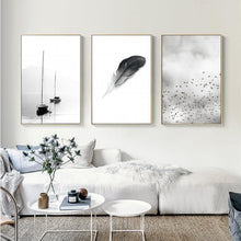 Load image into Gallery viewer, Abstract Landscape Birds Feather Minimalist Nordic Fine Art Canvas Prints Black White White Photographic Art For Modern Home Office Decor