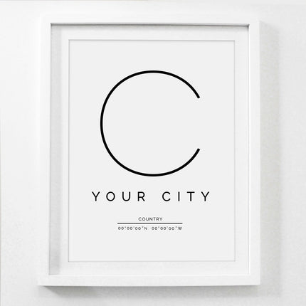 City Poster Customized For Your City Nordic Style Minimalist Wall Art Fine Art Canvas Prints Black And White City Name Print Pictures For Home Office Decor