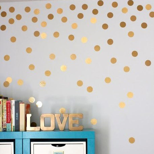 Gold Polka Dots Big Sizes Shiny Wall Decals Removable PVC Wall Stickers For Nordic Style Children's Bedroom Wall Decoration