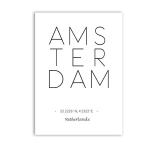 Amsterdam City Landscape Wall Art Black & White Minimalist Dutch Travel Posters Fine Art Canvas Prints Nordic Style Art For Modern Home Decor