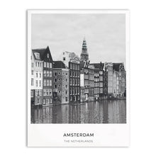 Load image into Gallery viewer, Amsterdam City Landscape Wall Art Black & White Minimalist Dutch Travel Posters Fine Art Canvas Prints Nordic Style Art For Modern Home Decor