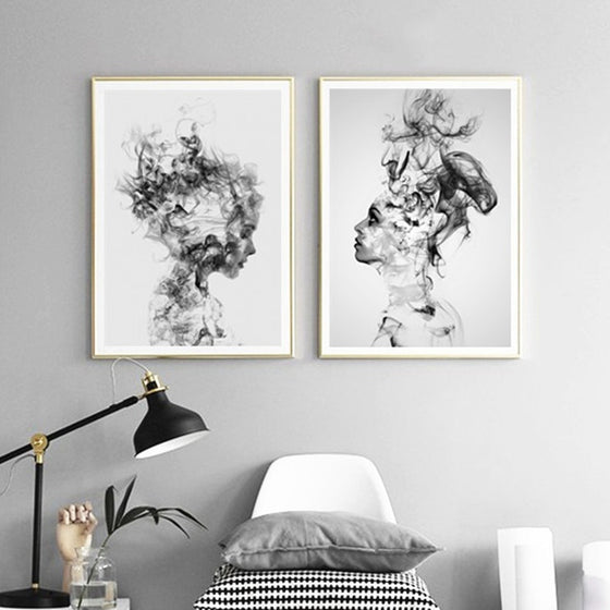 Beautiful Girl Abstract Beauty Portrait Black and White Fine Art Canvas Prints Nordic Style Fashion Posters Modern Wall Art For Home Interior Decor