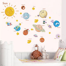 Load image into Gallery viewer, Outer Space Wall Decal For Kids Bedroom Solar System Cartoon Stars Planets Sun & Moon Removable Wall Stickers For Nursery Room Classroom