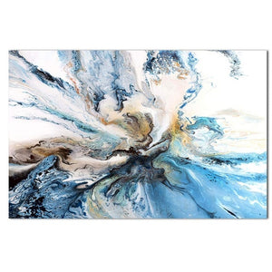 Abstract Ocean Swirls Wall Art Blue White Gold Contemporary Oil Painting Fine Art Canvas Prints For Office Living Room Modern Home Decor
