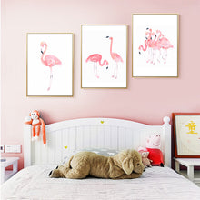 Load image into Gallery viewer, Delightful Princess Pink Flamingos Watercolor Canvas Poster Prints Modern Elegant Nordic Wall Art For Girls Room Living Room Home Decor
