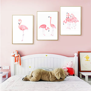 Delightful Princess Pink Flamingos Watercolor Canvas Poster Prints Modern Elegant Nordic Wall Art For Girls Room Living Room Home Decor