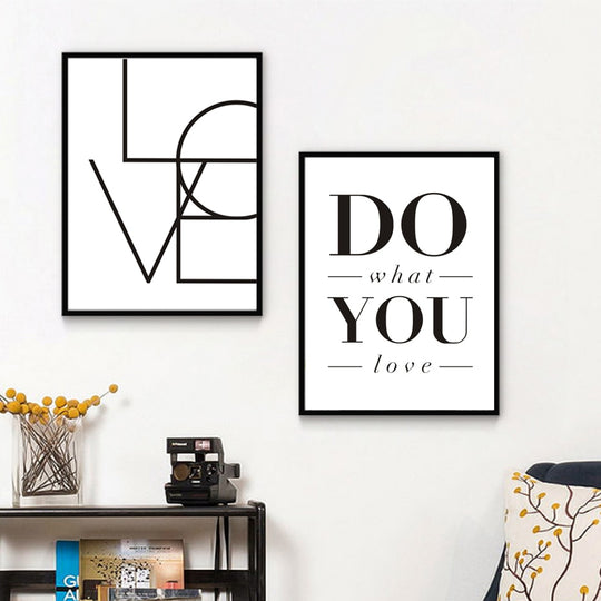 Love Sign Do What You Love Minimalist Words of Love Wall Art Black White Canvas Poster Office Decoration or Nursery Painting