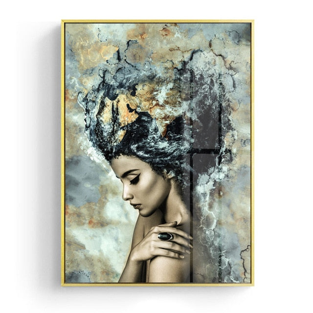 Girl Becomes Marble Abstract Nordic Fashion Figure Art Poster Fine Art Canvas Print Picture For Modern Interior Design Home Decoration