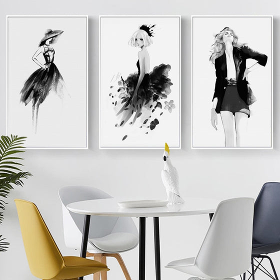 Modern Black White Fashion Posters Stylish Catwalk Models Salon Art Canvas Prints For Boutiques Offices Salons And Modern Home Decor