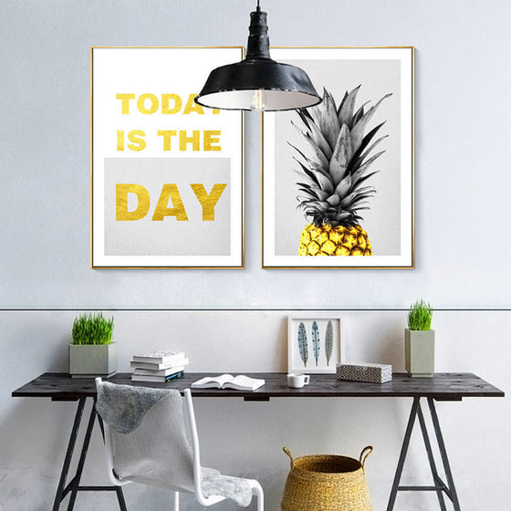 Today Is The Day Motivational Wall Art Poster Bright Sunny Simple Golden Pineapple Modern Nordic Canvas Prints For Modern Home Decor