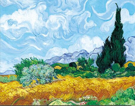 Famous Paintings Vincent Van Gogh Wheatfield With Cypress Tree Fine Art Canvas Print Classic Post-Impressionism Landscape Wall Art Decor