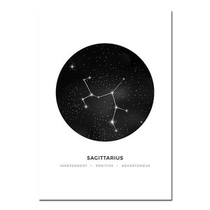Minimalist Abstract Constellations Wall Art Black & White Astronomy Star Signs Traits Zodiac Astrology Prints For Bedroom Home Decor