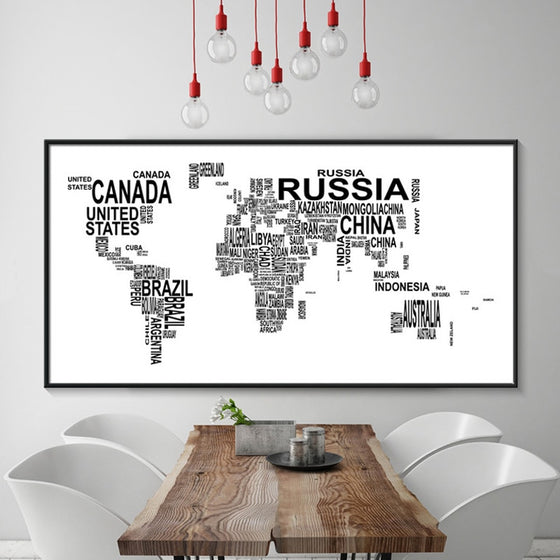 Abstract Black and White World Map Country Name Word Map Nordic Design Minimalist Canvas Posters Print for Modern Home Office