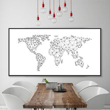 Load image into Gallery viewer, Abstract Black and White World Map Country Name Word Map Nordic Design Minimalist Canvas Posters Print for Modern Home Office