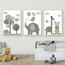 Load image into Gallery viewer, Delightful Cartoon Giraffe Rabbit Elephant Nordic Nursery Animals Wall Art Canvas Paintings Colorful Posters For Toddlers Room Home Decor
