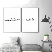 Load image into Gallery viewer, Inhale Exhale Word Art Canvas Prints Minimalist Quotations Black White Letters Poster Art Abstract Paintings Salon Wall Art For Modern Home Decor