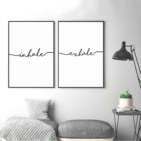 Inhale Exhale Word Art Canvas Prints Minimalist Quotations Black White Letters Poster Art Abstract Paintings Salon Wall Art For Modern Home Decor