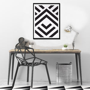 Abstract Aztec Wall Art Black And White Chevron Geometric Canvas