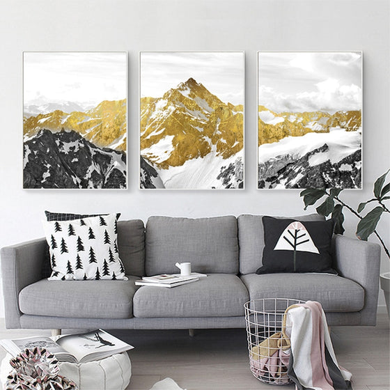Golden Mountain Landscape Wilderness Wall Art Semi Abstract Mystical Terrain Fine Art Canvas Prints Nordic Pictures For Modern Home Decor
