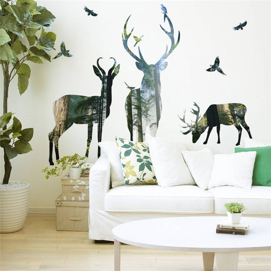 Deer Of The Forest Wall Mural Removable PVC Wall Decal Nordic Style Woodland Animals Wall Art For Living Room Dining Room Interior Decor
