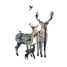 Load image into Gallery viewer, Deer Of The Forest Wall Mural Removable PVC Wall Decal Nordic Style Woodland Animals Wall Art For Living Room Dining Room Interior Decor