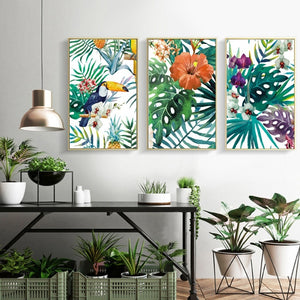Tropical Flora & Fauna Colorful Nordic Style Botanic Watercolor Wall Art Fine Art Canvas Giclee Prints For Modern Living Room Dining Room Kitchen Home Decor