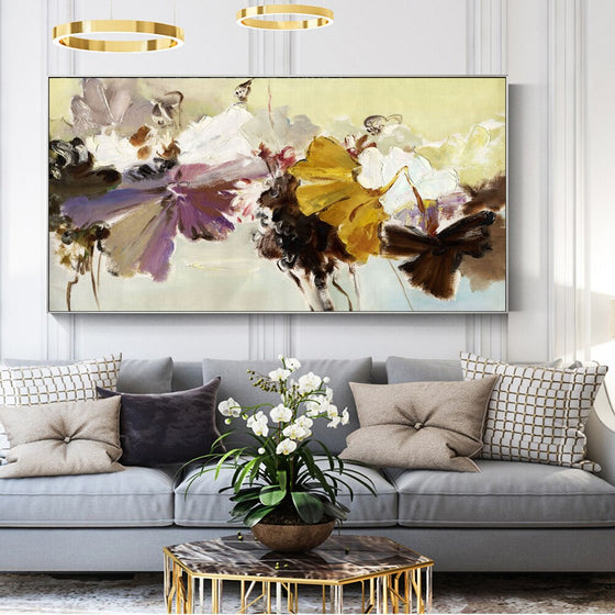 Big Floral Wide Format Wall Art Painting Modern Colorful Abstract Fine Art Canvas Prints For Living Room Bedroom, Office Hotel Interior Decor