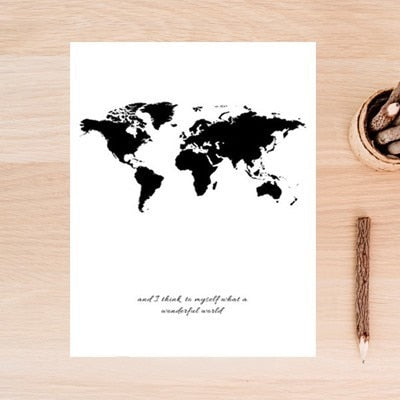 Black & White World Map Inspirational Quote Minimalist Wall Art Wish Do Mantra Daily Inspiration Travel Fashion Poster For Living Room Bedroom Home Office Decor