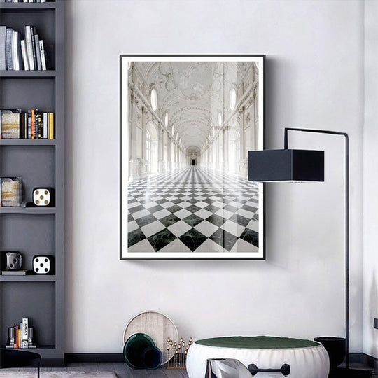 Elegant Interior Black And White Wall Art Poster Fine Art Canvas Print Architectural Style Pictures For Modern Home Office Interior Decoration