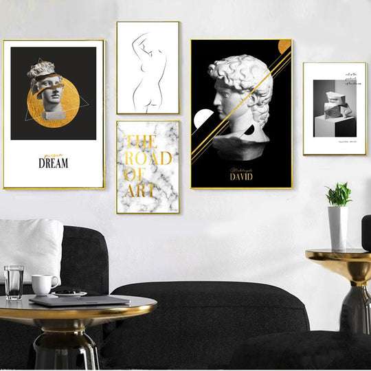 Abstract Renaissance Michelangelo David Sculpture Gallery Wall Art Fine Art Canvas Prints Nordic Style Pictures For Living Room Home Decor.