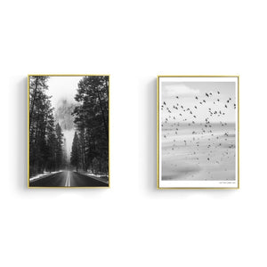 Nordic Wilderness Landscape Road Ahead Birds In The Sky Minimalist Wall Art Posters Black White Fine Art Canvas Prints For Modern Interior Decor