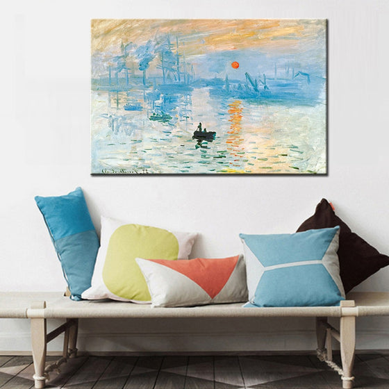 Claude Monet Impression, Sunrise Poster Art Famous Painting Wall Art Canvas Digital Print Poster Classic Art for Modern Living Room Home Decor