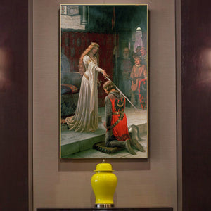 Edmund Blair Leighton The Accolade Poster Fine Art Canvas Giclee Print Famous Paintings Subject Chivalry Wall Art Poster For Modern Home Decor