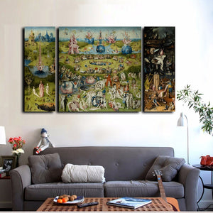 Hieronymus Bosch - The Garden of Earthly Delights Print Canvas Poster Triptych Wall Art Famous Fine Art Painting For Modern Home Decor - 3Pcs