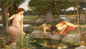 John William Waterhouse's Echo and Narcissus Poster Famous Pre-Raphaelite Paintings Fine Art Canvas Poster Print Classic Wall Art