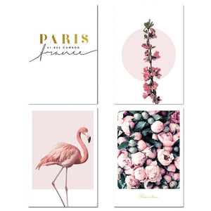 Modern Floral Gallery Nordic Wall Art Minimalist Quote Pink Flamingo Rose Peonies Fine Art Canvas Prints For Scandinavian Style Home Wall Decor