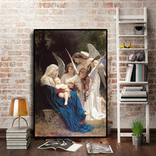 Load image into Gallery viewer, Famous Painting Song of the Angels by William-Adolphe Bouguereau Classic Neoclassicism Oil Painting Fine Art Canvas Print Bedroom Posters