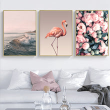 Load image into Gallery viewer, Delightful Romantic Wall Art Pink Flamingo Sunset Peony Petals Fine Art Canvas Prints Modern Minimalist Wall Art For Modern Home Decoration