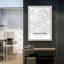 Load image into Gallery viewer, Asia City Map Of Singapore Wall Art Poster Black White Fine Art Canvas Print Travel Office Wall Decor Minimalist Pictures For Modern Home Office Interior Decor